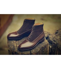 handmade brogue  brown leather boots dress casual latest formal ankle boots