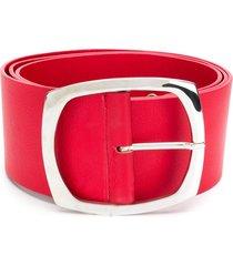 amen large square-buckle belt - red