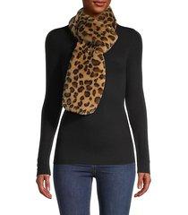 leopard-print faux fur scarf