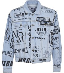 msgm denim jacket with all-over print