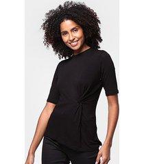 blusa acostamento drapeada feminina