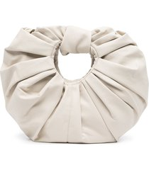 gia studios croissant ruched-detail clutch bag - white