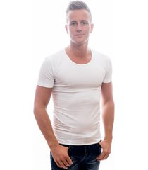 garage t-shirt deep round neck bodyfit white ( 0205)