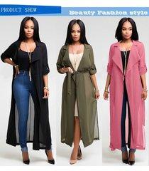 women trench coat chiffon duster causal office overcoat outwear women long robe