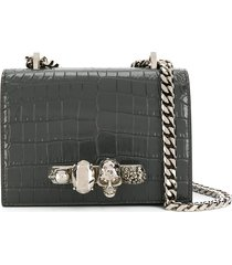 alexander mcqueen knuckle duster shoulder bag - grey
