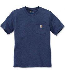 carhartt t-shirt men workwear pocket s/s deep blue indigo-xl