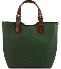 tuscany leather tl141696 tl bag - borsa shopping in pelle saffiano verde foresta