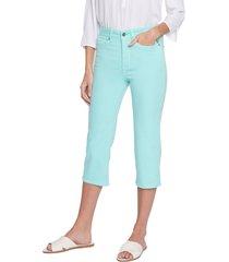 petite women's nydj thighshaper straight crop pants, size 4p - blue