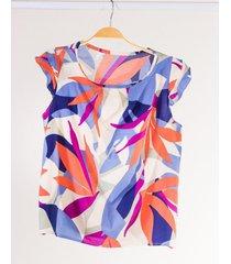 camisa feminina colibri regata com manga curta estampada c04 - azul/laranja/roxo - feminino - viscose - dafiti
