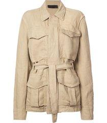 haider ackermann basic belted jacket - neutrals