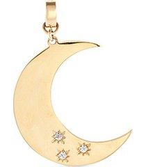 'moon' diamond 14k yellow gold bracelet charm - large