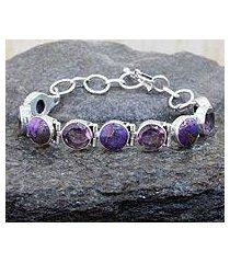 amethyst link bracelet, 'spiritual friendship' (india)