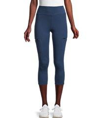 nine west women's zip-pocket capri leggings - insignia - size m