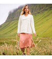 cream ladies annaghmore aran cardigan large
