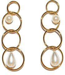 ivory teardrop linear earrings