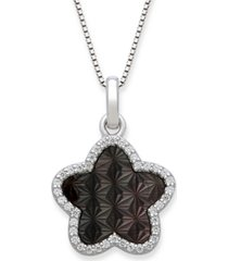 "black mother of pearl 13mm and cubic zirconia star shaped pendant with 18"" chain in sterling silver"