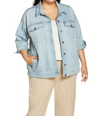 plus size women's eileen fisher classic collar jean jacket, size 2x - blue