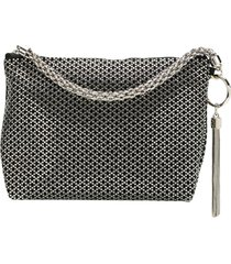 jimmy choo callie diamond motif crystal hotfix clutch - black