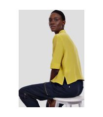 camisa manga curta lisa amarelo yoko - 42