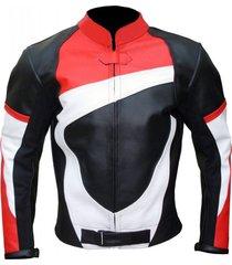 mens biker leather black red white biker  leather jacket men style