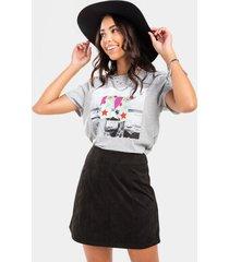 julianne faux suede mini skirt - black