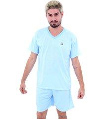 pijama malha fria soneca & cia curto azul claro