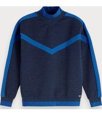 scotch & soda sweater met hoge hals en colourblock