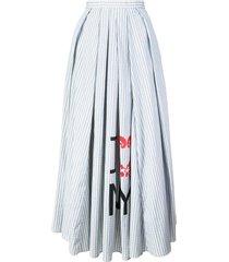 striped flared midi skirt