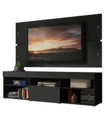 rack com painel para tv até 65 polegadas madesa havaí 1 porta preto xa70038n1