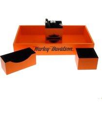 kit 4 peã§as organizadores  mesa escri. porta caneta laranja - amarelo - dafiti