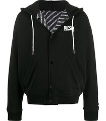 diesel reversible fleece hooded jacket - black