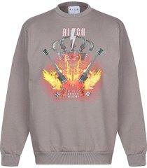 john richmond designer sweatshirts, mud gray printed cotton men's sweater