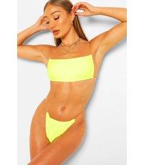 bikini met vierkante, doorzichtige bandjes aan de zijkant, kalk