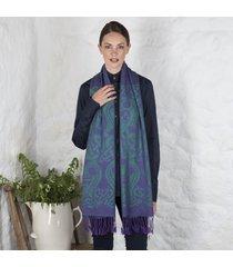 purple & green celtic wool scarf