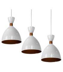 kit 3 lustre pendente califórnia de alumínio branco c/ cobre