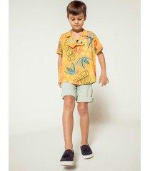 camisa de botã£o estampada colorida agãªnero com gola pijama - amarelo - menino - viscose - dafiti