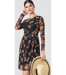 na-kd round neck flower mesh dress - black