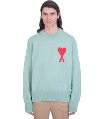 ami alexandre mattiussi ami de coeur sweater knitwear in green cotton