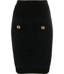 balmain hw knee-lenght fluffy diamond knit skirt