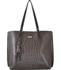 bolsa couro mariart shopping bag marrom