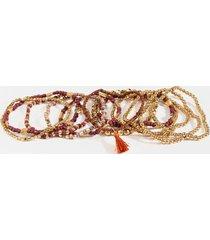 sofie beaded tassel bracelet set - purple