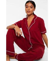 pyjama set met korte mouwen en knopen, berry
