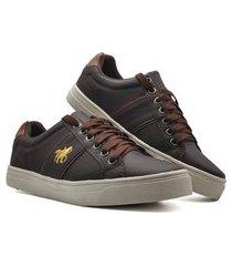 sapatenis sapato tenis masculino casual ziper mod 741 marrom