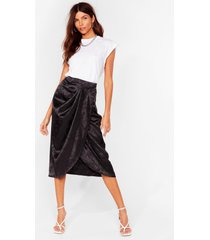 womens do the twist satin midi skirt - black