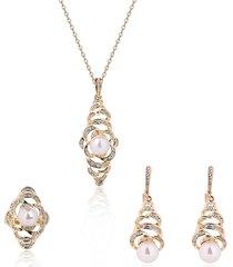 set di gioielli d'avanguardia set di collana d'anello degli orecchini speciali del rhinestone della perla