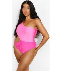 plus asymmetrisch colour block badpak met uitsnijding, hot pink