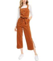 oat corduroy side-slit jumpsuit