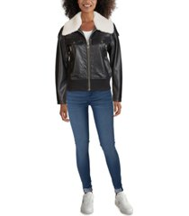 guess faux-fur collar bomber faux-leather jacket, created for macy's