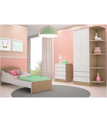 jogo de quarto infantil doce sonho com mini cama carvalho com branco - qmovi