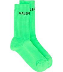 balenciaga logo-motif ribbed-edge socks - green